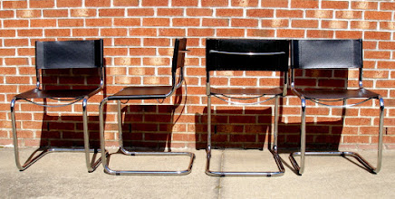 Photo: ITALIAN-MADE CHAIRS  (8) AVAILABLE: CHROME & FAUX-LEATHER