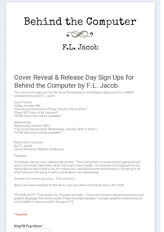 Cover Reveal & Release Day Sign Ups for Behind the Computer by F.L. Jacob