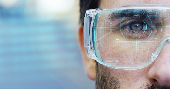Wearable technology trends: Closeup of man wearing smart glasses