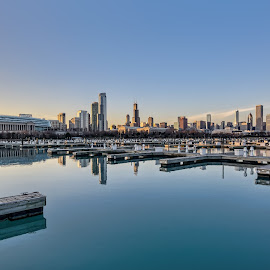 calm waters by Fred Faulkner - City,  Street & Park  Vistas ( water, skyline, reflection, architecture, cityscape, chicago )