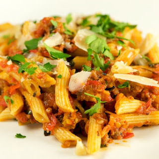 Penne with Ragù of Roasted Tomato and Sausage
