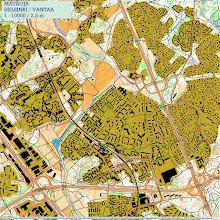 Photo: Kannelmäki and surroundings, with Karttapullautin 20121002 version.