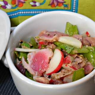 Healthy Seared Ahi Tuna with Snow Peas and Ginger Miso Dressing.