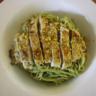 Chicken with Lemon and Avocado Pasta Sauce.