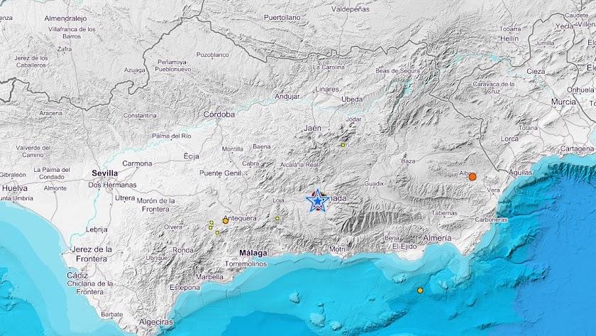 Últimos terremotos en Granada en la web del Instituto Geográfico Nacional.