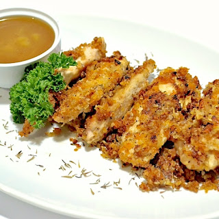 """Oven """"Fried"""" Chicken Fingers with Honey-Mustard Dipping Sauce."""