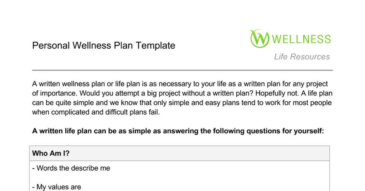 Personal Wellness Plan Template Public