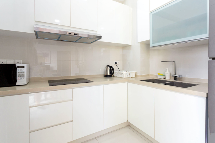 Fully equipped kitchen at Duplex Penthouse, Seraya Lane