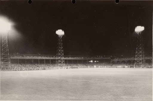 Baseball Field Illuminated by 180 GE Form L-31-A Floodlighting Projectors. Night view from Center field fence. Washington Baseball Park, Indianapolis, Ind.