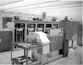 Photo: Remote console and magnetic tape drives for the IBM S/360-67 computer, 2nd floor, North Campus Computing Center, University of Michigan, Ann Arbor, Michigan, USA, c. 1971