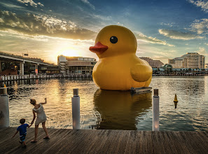 Photo: Look! There's a Giant Rubber Ducky in Sydney Harbor  Just saw this while walking around... awesome!  (edit: I see this is called Darling Harbour, which is in Sydney)