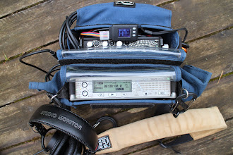 Photo: Sound devices 744 recorder and 302 mixer.  On the top is a small LiPo cell log and voltage monitor