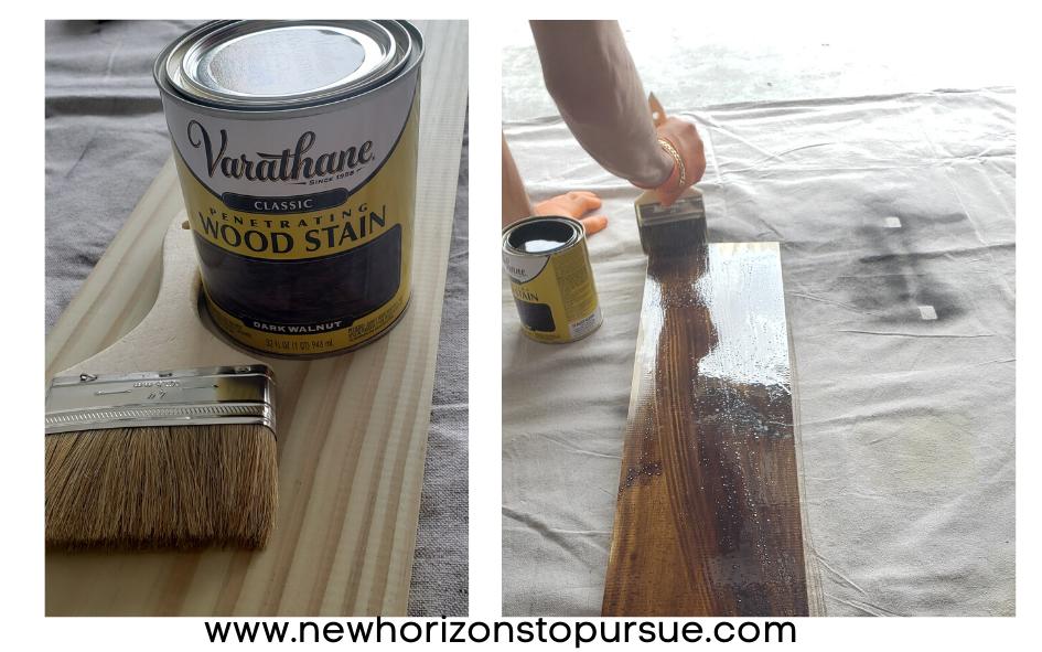 Para tinturar madera puedes utilizar una brocha o un trapo.