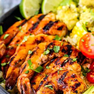 Grilled Barbecue Shrimp and Corn Avocado Salad Bowls Recipe