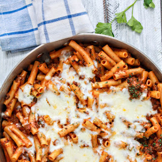 Easy One Skillet Baked Ziti.