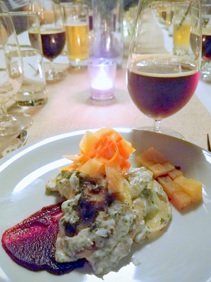 Imperial Session Beer Dinner from September 2016, 5 courses with each course paired with a beer. Cousre 3 Lamb or Mushroom pierogies, mint chimichurri sour cream, beet harissa paired with De Garde/Heater Allen Doppelbock (Eichenbock, an oak barrel-aged Doppelbock)