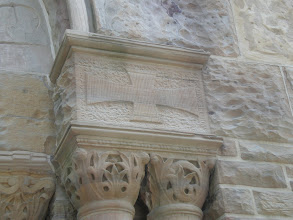 Photo: detail above the doors of the chapel