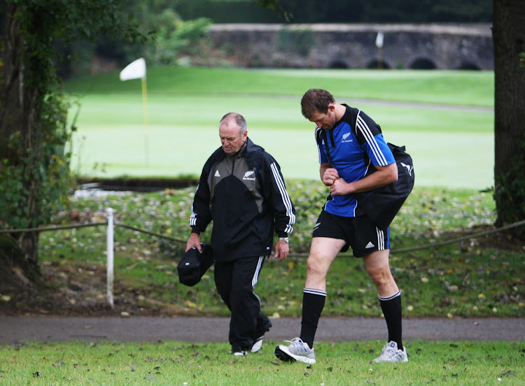 Head coach Graham Henry (L) and lock Chris Jack of the New Zealand All Blacks. File photo