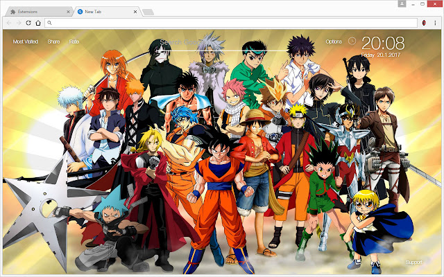 Anime wallpapers hd new tab themes 2017 chrome web store - Dbz et one piece ...