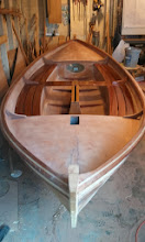 Photo: Couldn't resist seeing what the benches look like on the boat after the fist coat of epoxy.