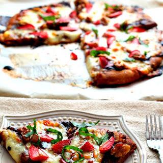Balsamic Strawberry Walnut Pizza with Fresh Mozzarella and Basil