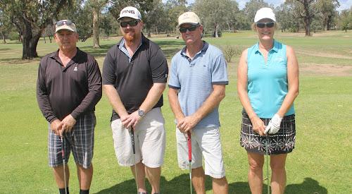 The Narrabri Golf Club Holden Scramble champions - Robin Findley, Adam Smith, Steve Parish and Yvonne Findley.