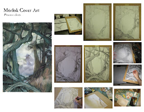 Photo: Process shots for the cover art. Done with graphite, watercolours, acquarelles, graphtints, some charcoal touch-ups, scanned & small digital tidy-ups