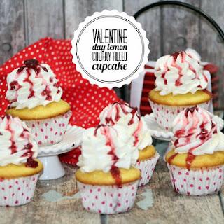 Valentine Day Lemon Cherry Filled Cupcake