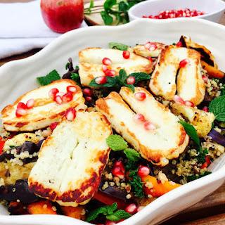 Quinoa, Roast Vegetables, Halloumi Cheese Zaatar and Pomegranate Salad Recipe