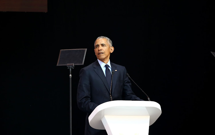 Former US President, Barack Obama delivers the 16th Nelson Mandela Annual Lecture at Wanderers Stadium.