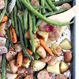 Sheet Pan Chicken Sausage And Veggies.