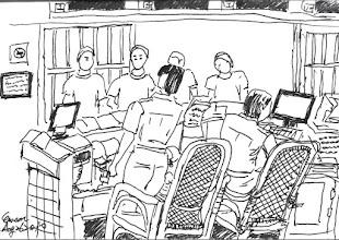 Photo: 中央台2010.08.26鋼筆畫 勤務中心無疑是監獄的心臟地帶,每天所有的人員進出、勤務派遣,乃至於任務執行和危機處理,都由這裡統籌執行。 在中央台備勤的我,利用忙翻了的零散時間畫了這幅畫,才不到一半,長官就進來巡視,還站在我後面,我一面畫,一面遮,就這樣完成了它…