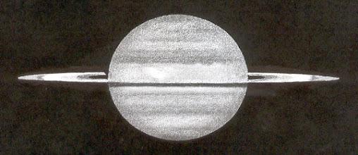 Photo: Saturne le 15 février 2009 à 1H56TU. Bonnes images. T406 à 350X et 500X en bino. Zone claire au-dessus de l'équateur.