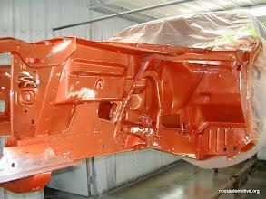 Photo: 70 challenger on rotissorie getting orange paint