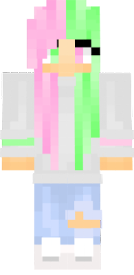 Pink and green haired pastel girl skin