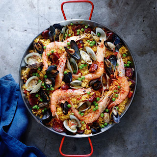 Spanish Paella with Chorizo and Seafood.