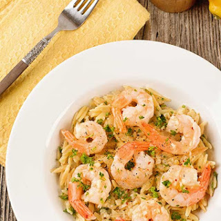 Garlicky Lemon Butter Shrimp with Orzo Risotto Recipe