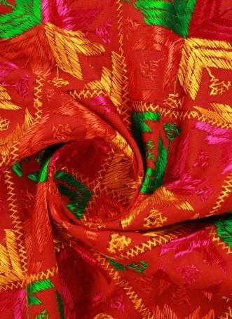 Buy Multicolor Phulkari Embroidered Art Silk Fabric, Embroidered, blended  patterned Online Shopping | EFDP002