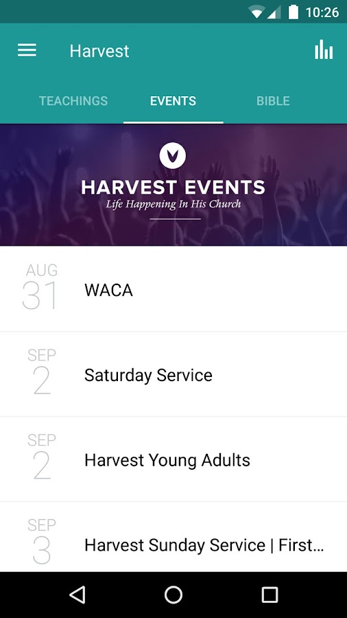 Harvest Fellowship App- screenshot