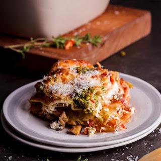 Vegetarian Lasagna With Basil Pesto And Ricotta.