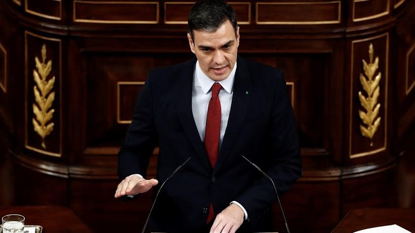 Pedro Sánchez, presidente del Gobierno, en el debate de la prórroga del estado de alarma.