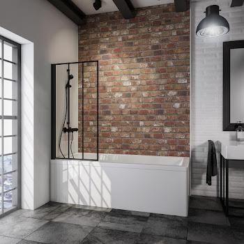 Pare-baignoire Atelier 4, 130 cm, 1 volet, style industriel, profilé noir