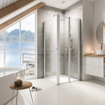 Portes de douche battantes avec paroi latérale, 80 ou 90 cm