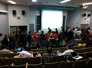 Photo: DevSummit attendees standing in a long line to get their lunch.