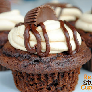 Reese's Peanut Butter Cup Stuffed Cupcakes.