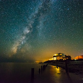 Star House by John Smith - Landscapes Starscapes ( water, sand, stars, ocean, gulf of mexico, beach, galaxy, milky way )