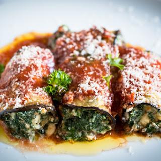 Spinach, Ricotta And Tomato Eggplant Rolls