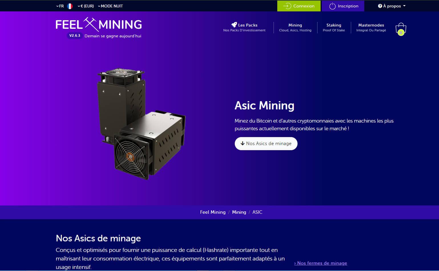 Feel mining propose la vente et l'installation de ASICS pour miner du Bitcoin