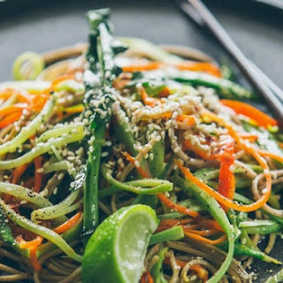 Broccoli stem noodles with snow peas and Japanese dressing.