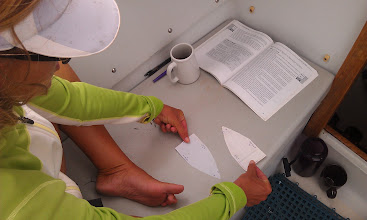 """Photo: Anne figuring out the nautical """"rules of the road"""""""